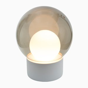 Medium Boule in Opal White & Smoky Grey Glass and White Base by Sebastian Herkner for Pulpo & Rosenthal