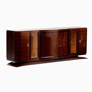 French Vintage Art Deco Long Rosewood Sideboard