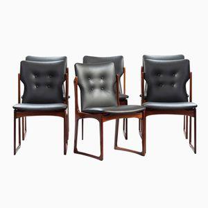 Chaises de Salon Mid-Century en Cuir et en Palissandre, Danemark, Set de 6