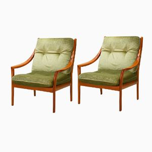 German Cherry and Mohair Velour Easy Chairs from Straub, 1980s, Set of 2
