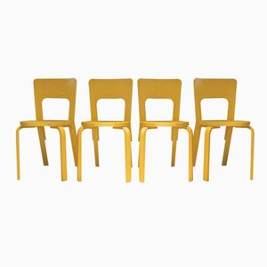 Finnish Model 66 Chairs by Alvar Aalto for Artek, 1980s, Set of 4