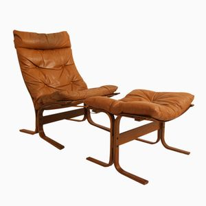 Danish Chair with Footstool by Ingmar Relling for Westnofa, 1960s