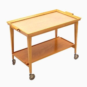 Mid-Century Swedish Serving Trolley with Glass Tray from Bodafors