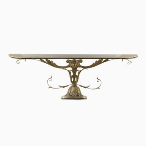 Italian White Marble and Metal Console, 1950s