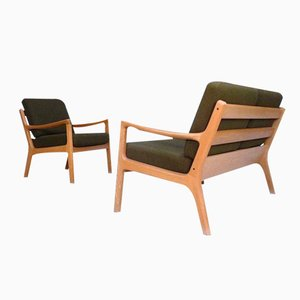 Danish Senator Oak Chair and Sofa by Ole Wanscher for Cado, 1960s, Set of 2