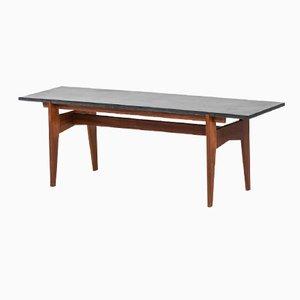 table basse en teck et en granit noir par hans agne. Black Bedroom Furniture Sets. Home Design Ideas