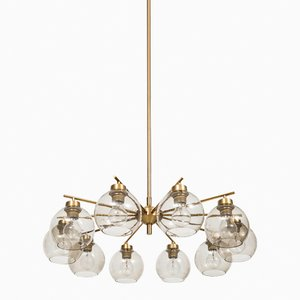 Large Brass & Glass Chandelier from Westal, 1960s
