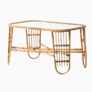 Danish Rattan, Cane, and Glass Coffee Table by Viggo Boesen for E.V.A. Nissen & Co, 1936