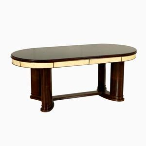Italian Rosewood, Parchment & Glass Table, 1940s
