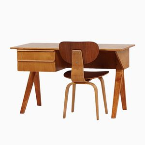 Dutch EB02 Birch Desk and Chair by Cees Braakman for Pastoe, 1950s