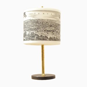 Mid-Century Italian Modern Desk Lamp with Imprinted Glass Shade, 1950s