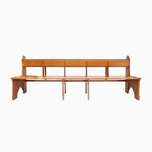 Dutch Solid Oak Bench, 1920s