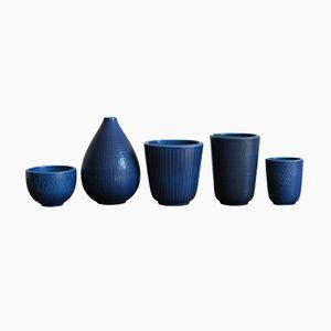 Vases Marselis en Céramique par Nils Thorsson pour Royal Copenhagen, Danemark, 1950s, Set de 5