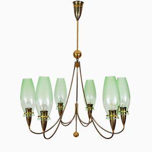 Brass & Green Glass Chandelier, 1980s