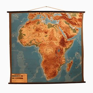 Carte Murale Afrique Vintage en Relief, 1960s