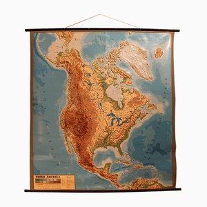 Carte en Relief Vintage Amérique du Nord