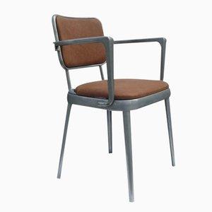 Britischer Armlehnstuhl aus Leder und Aluminium, 1950er