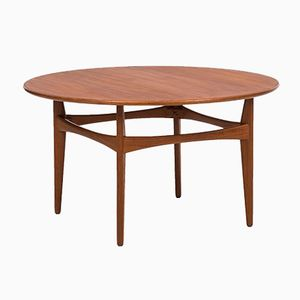 Swedish Round Teak Coffee Table by Karl-Erik Ekselius for JOC Vetlanda, 1960s