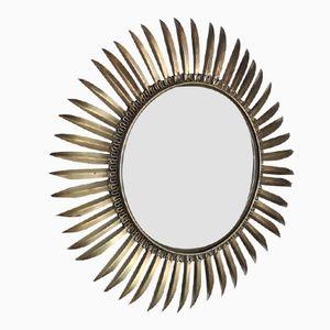 Vintage Hollywood Regency Style Brass Sunburst Convex Mirror