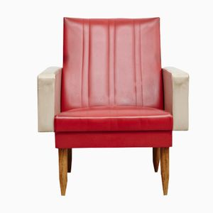 French Red Leatherette Easy Chair, 1950s