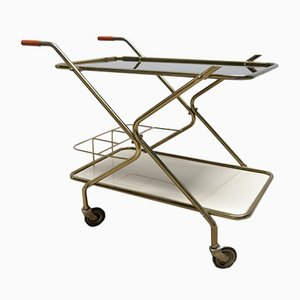 Vintage Serving Cart with Glass Tops