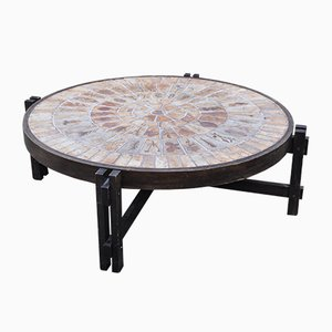 Vintage Round Wooden Table by Roger Capron