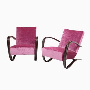 Lounge Chairs with Curved Armrests by Jindrich Halabala, 1930s, Set of 2