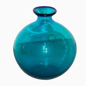 Kleine Blaue Italienische Vase von Venini, 1986