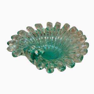 Grüne Murano Glasschale mit Blubberblasen, 1960er