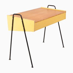 Dutch Yellow Wood and Black Metal Sewing Box by Coen de Vries for Pilastro, 1950s