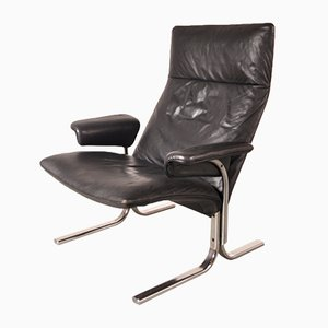 Swiss DS-2030 Leather and Chrome Easy Chair from De Sede, 1960s