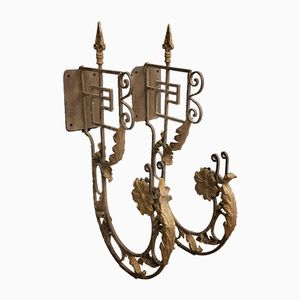 Vintage Italian Wrought Iron Brackets, Set of 2