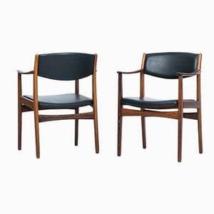 Mid-Century Rosewood and Faux Leather Armchairs, Set of 2