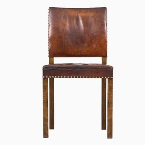 Art Deco Leather Side Chair
