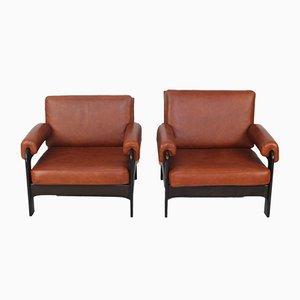 Mid-Century Sessel mit Neuem Cognacfarbenen Lederbezug, 2er Set