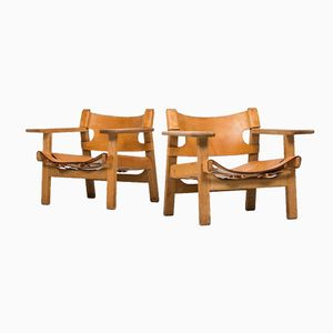 Mid-Century Easy Chairs by Borge Mogensen, Set of 2