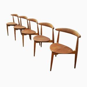 Heart Stühle aus Eichenholz von Hans J. Wegner für Fritz Hansen, 5er Set