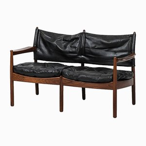 Rosewood and Black Leather Sofa by Gunnar Myrstrand for Källemo