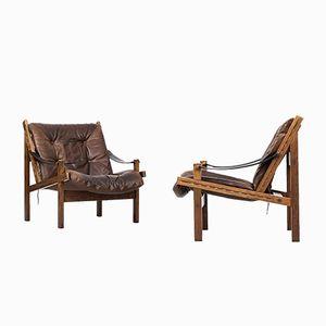 Mid-Century Norwegian Model Hunter Easy Chairs by Torbjørn Afdal for Bruksbo, 1960s, Set of 2
