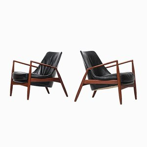 Swedish Seal Easy Chairs by Ib Kofod-larsen for OPE, 1950s, Set of 2