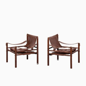 Swedish Sirocco Ash and Leather Easy Chairs from Arne Norell, 1964, Set of 2