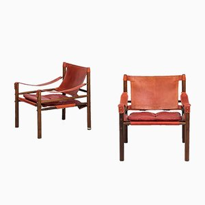 Mid-Century Swedish Sirocco Easy Chairs from Arne Norell, 1964, Set of 2