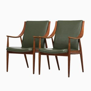 Danish Easy Chairs by Peter Hvidt & Orla Mølgaard-Nielsen for France & Son, 1950s, Set of 2