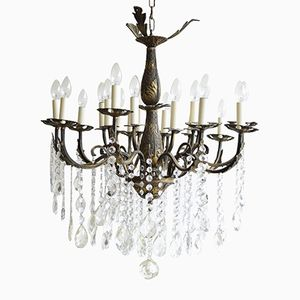Large Vintage French 16-Light Brass Chandelier