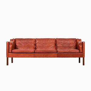 Red-Brown 2213 Sofa by Børge Mogensen for Fredericia