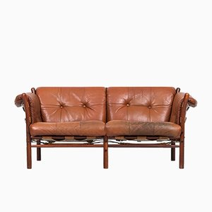 Brown-Red Ilona Sofa by Arne Norell for Arne Norell AB