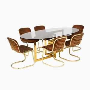 Italian Dining Table and Cantilevered Chairs Set from Cidue Italy, 1960s, Set of 7