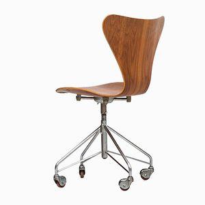 Teak 3117 Bürostühle von Arne Jacobsen für Fritz Hansen