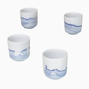 Tasses Tide Série Blue Sunday par Anna Badur, Set of 4
