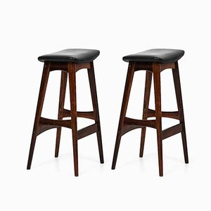 Rosewood & Leather Bar Stools by Johannes Andersen, 1960s, Set of 2